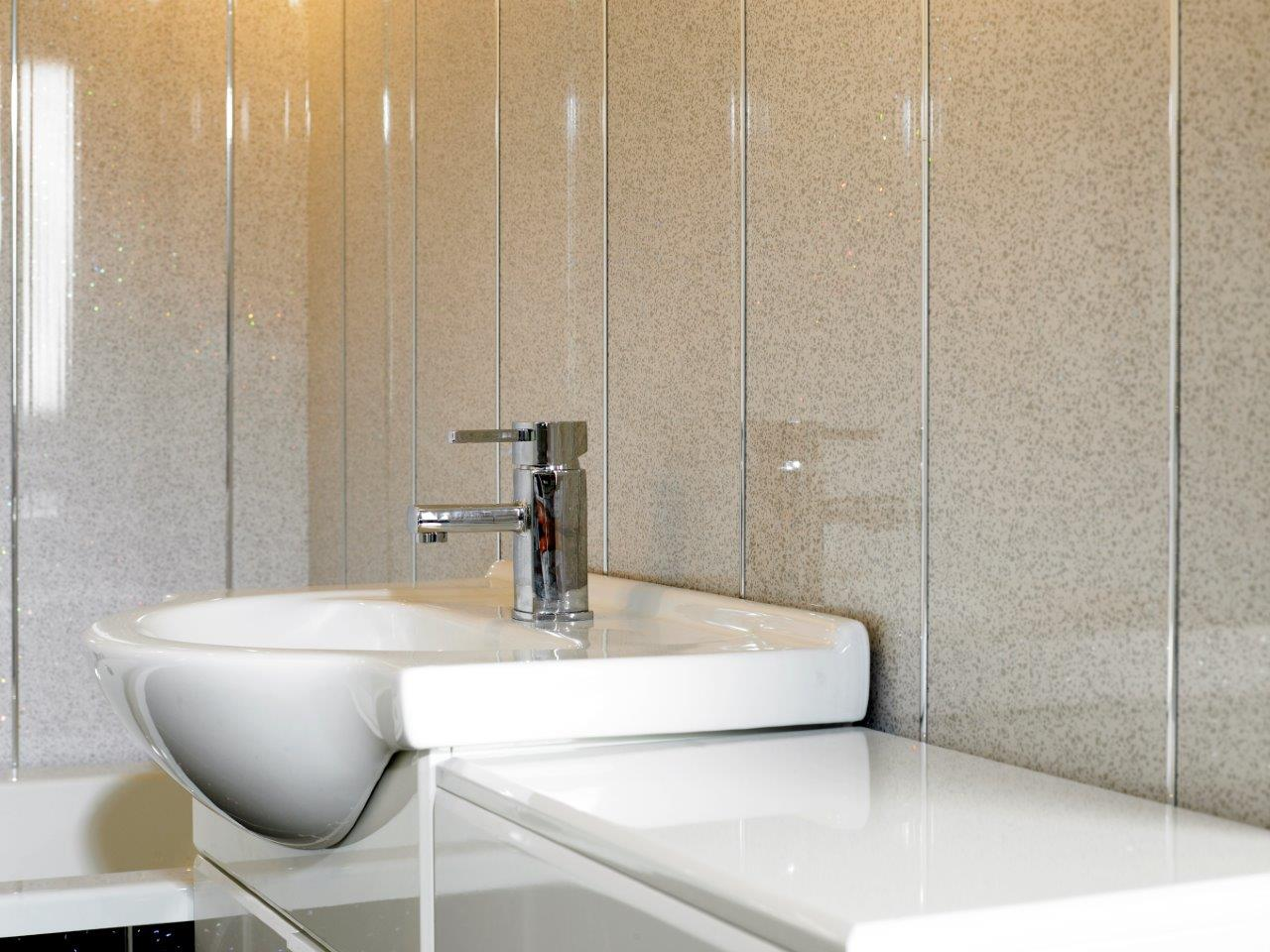 White Sparkle Decorative Cladding Decor Cladding Direct - White sparkle bathroom cladding